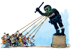 Protests Take Down Police by Daryl Cagle