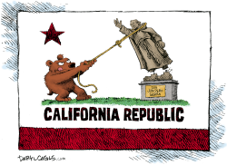 California and Serra Statues by Daryl Cagle