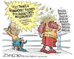 Trump and Biden boxing match by John Cole