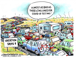 Long lines of cars by Dave Granlund