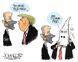 Biden and Trump mask up by John Cole