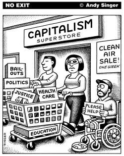 Capitalism Superstore Panhandler by Andy Singer