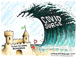 School openings vs COVID surge by Dave Granlund