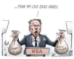 Dirty NRA funds by Adam Zyglis