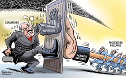 Lukashenko and protesters by Paresh Nath