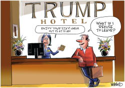 Trump check out by Dave Whamond