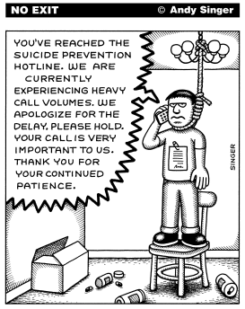 Suicide Hotline on Hold by Andy Singer