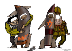 Missile confrontation Hamas and Israeli army  by Vladimir Kazanevsky