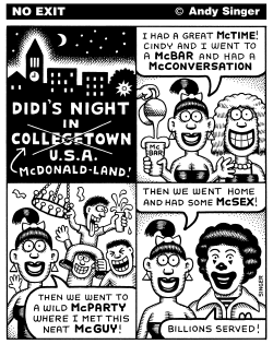 A Typical Night in Collegetown USA by Andy Singer