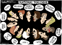 National Dialogue About Guns  by Bob Englehart