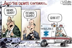 Debate on guns by Joe Heller