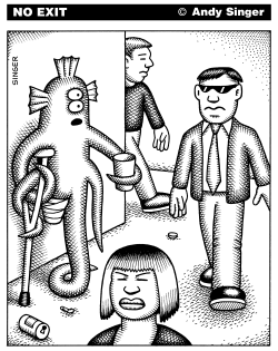 Alien Panhandler is Ignored by Humans by Andy Singer
