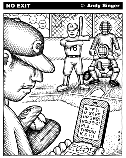 Baseball uses Text Messaging by Andy Singer