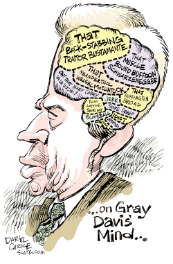 Gray Davis Mind  by Daryl Cagle