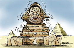 Mubaraks reign in Egypt starts to crumble by Peter Broelman