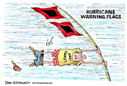Hurricane warning flags by Dave Granlund