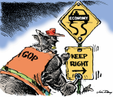 Turn Right - color by Jim Day, Politicalcartoons.com