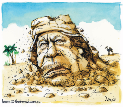 Gaddafi crumbles by Peter Lewis